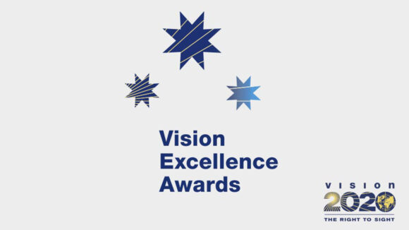 Text logo reading Vision Excellence Awards - Vision 2020 The Right to Sight