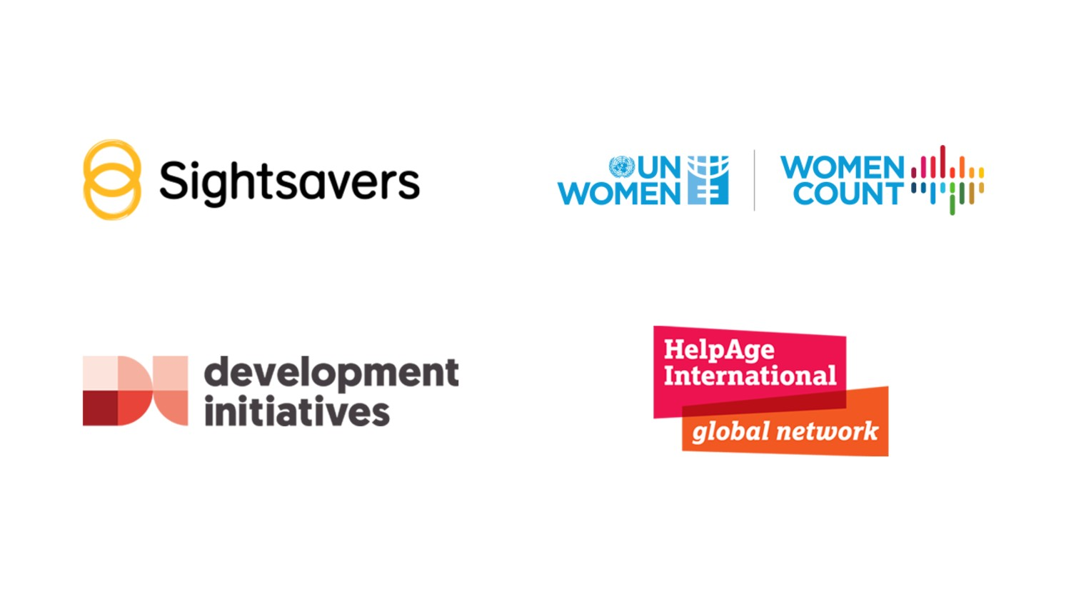 A collection of logos, for Sightsavers, development initiatives, UN Women, and HelpAge International