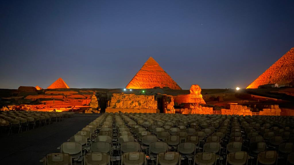 The Pyramids of Giza lit up for World NTD Day.