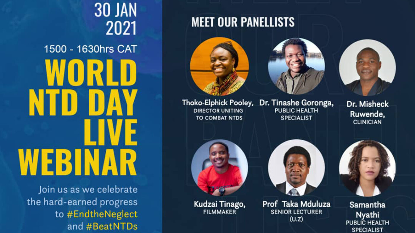 A poster invite for a World NTD Day webinar in Zimbabwe.