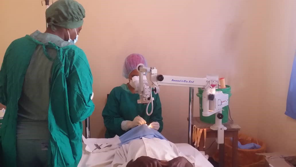 Two surgeons operating.