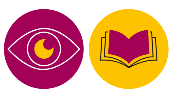 Two Sightsavers icons: one is an eve in a magenta circle, the other is a book in a yellow circle.