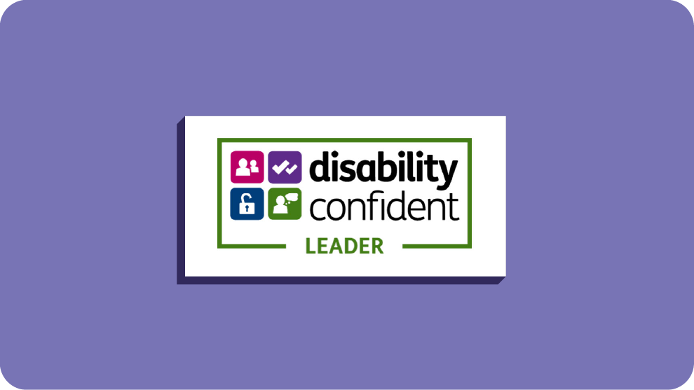The Disability Confident leader logo, featuring text and four small icons indicating people, ticks, a lock and someone thinking.