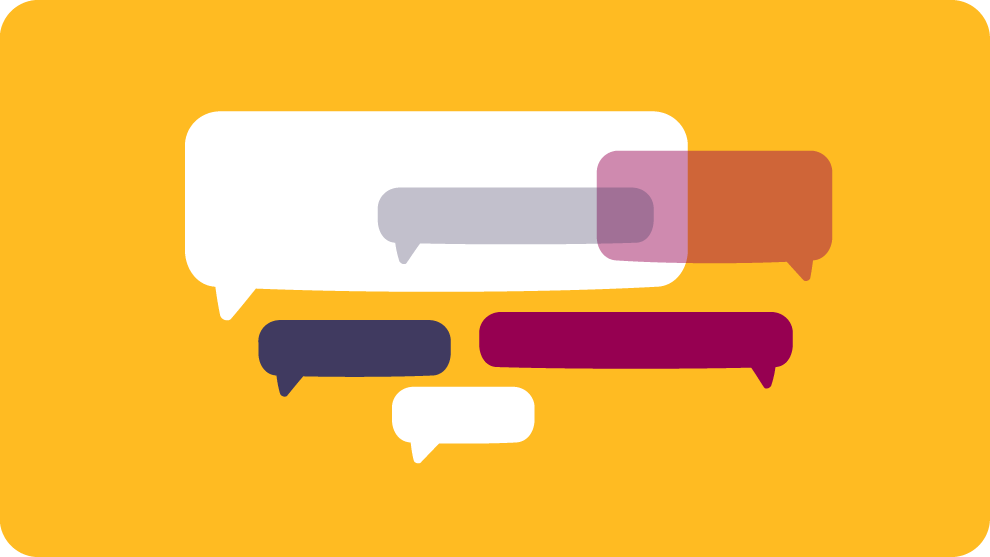 An illustration showing speech bubbles on a yellow background.