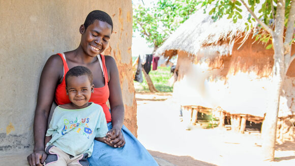 Tamara with her three-year-old son Daliso, who had successful surgery to remove his cataracts.