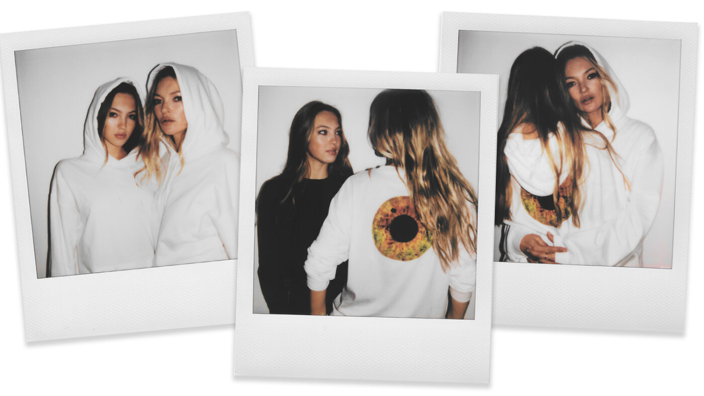 Three stylised photos of Kate Moss and her daughter wearing merchandise from the Eyescapes range.