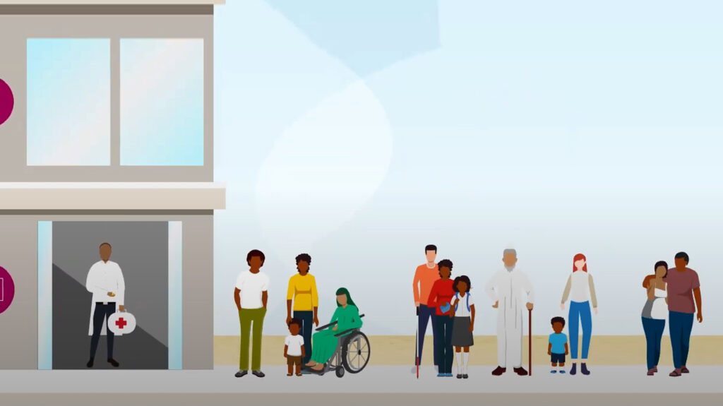 A still from Sightsavers' video about health systems strengthening, showing an illustration of a doctor standing in a hospital doorway with patients waiting outside.