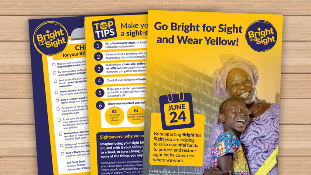 Examples from the Bright for Sight sponsorship pack.
