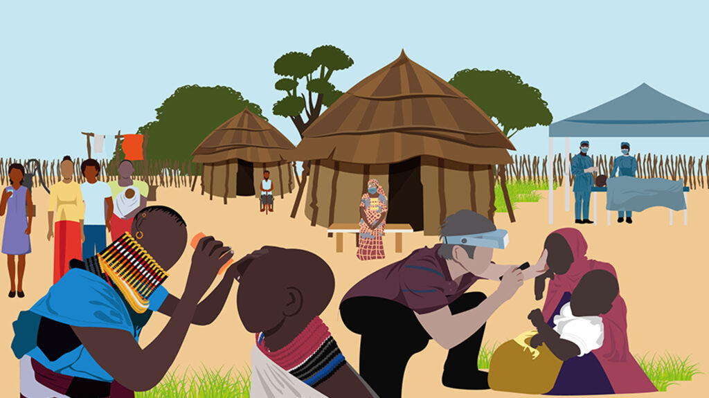 An illustration showing people in a remote village having their eyes checked for trachoma.