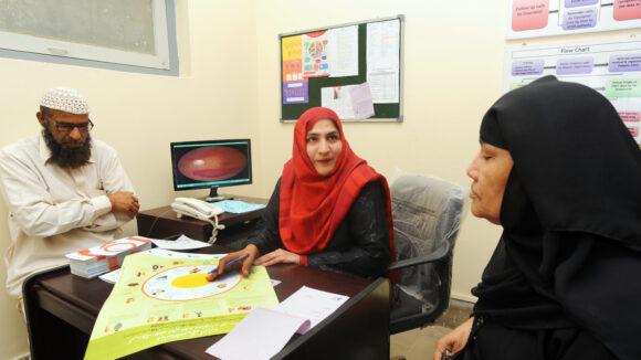 A woman in Karachi, Pakistan having a consultation on diabetic retinopathy.