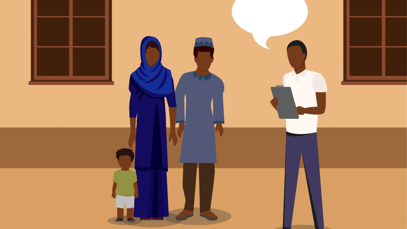 An illustration showing a man with a clipboard, talking to a group of three people. The group includes a man, a woman and a little boy.