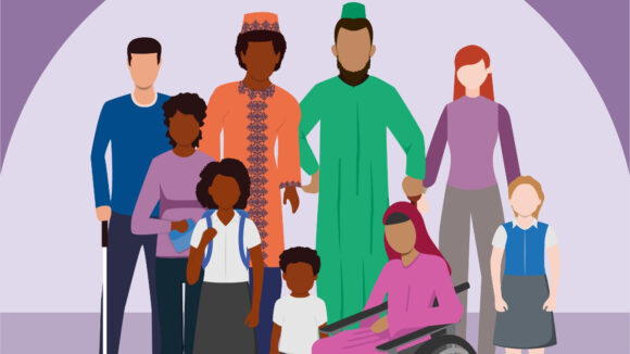 An illustration showing a group of people of different ethnicities, standing together. The people are pictured wearing brightly coloured clothes. One of the people in the group is a wheelchair user.