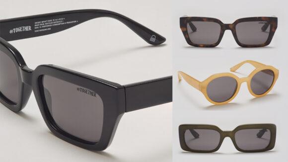 Four pairs of sunglasses from the Togetherband range, in black, dark green, tortoiseshell and cream.